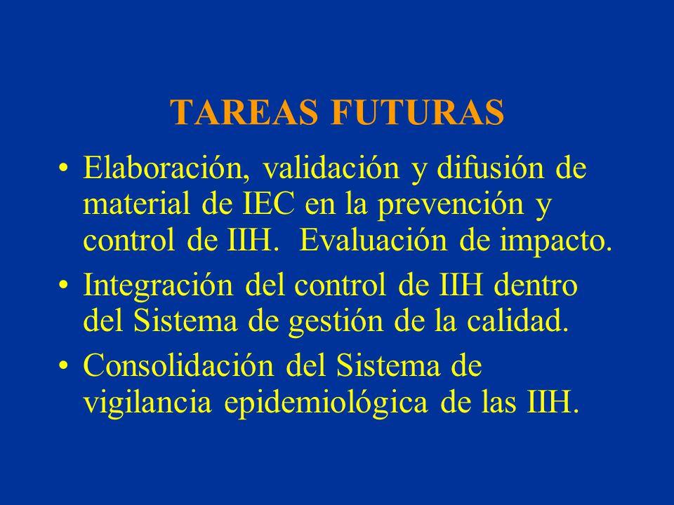 TAREAS FUTURAS Elaboración, validación y difusión de material de IEC en la prevención y control de IIH. Evaluación de impacto.