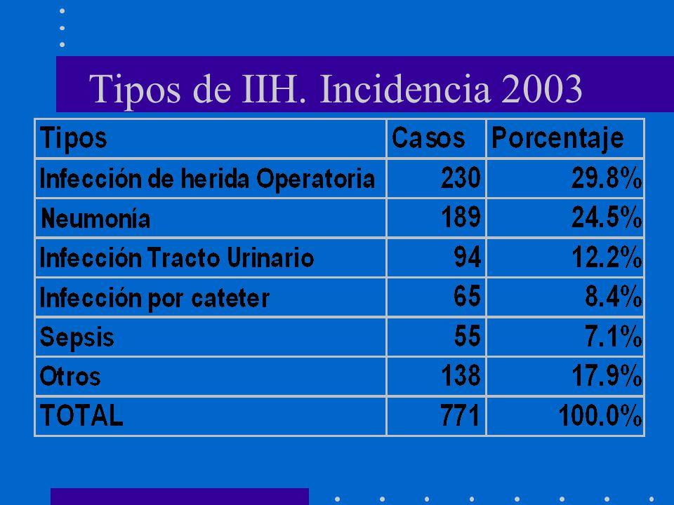Tipos de IIH. Incidencia 2003