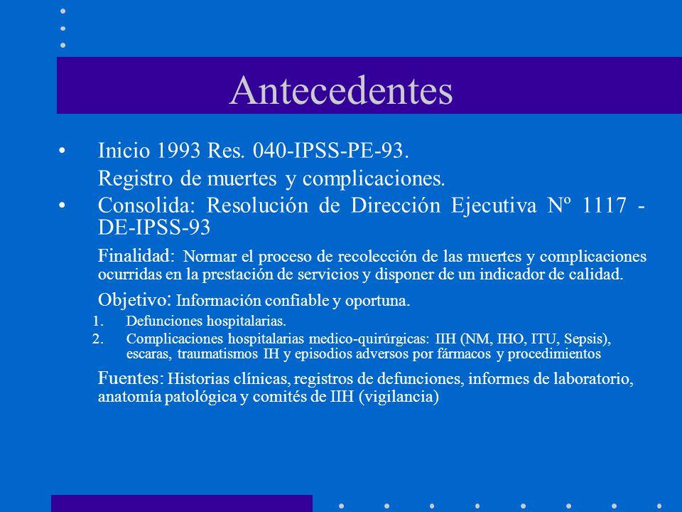 Antecedentes Inicio 1993 Res. 040-IPSS-PE-93.