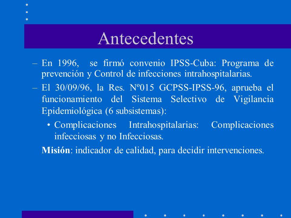 Antecedentes En 1996, se firmó convenio IPSS-Cuba: Programa de prevención y Control de infecciones intrahospitalarias.