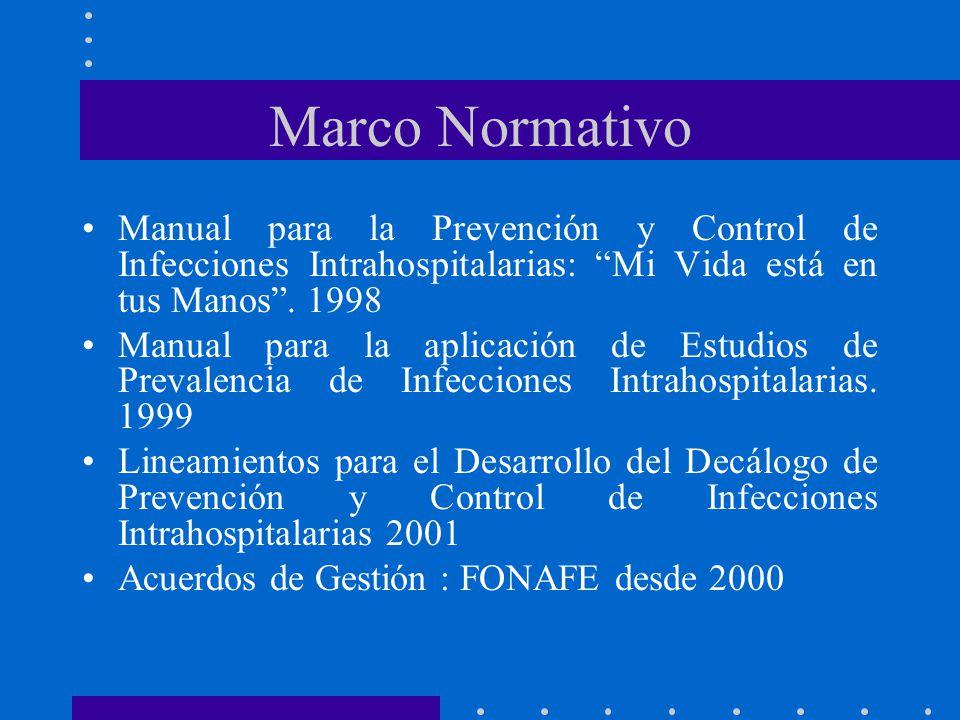 Marco Normativo Manual para la Prevención y Control de Infecciones Intrahospitalarias: Mi Vida está en tus Manos . 1998.