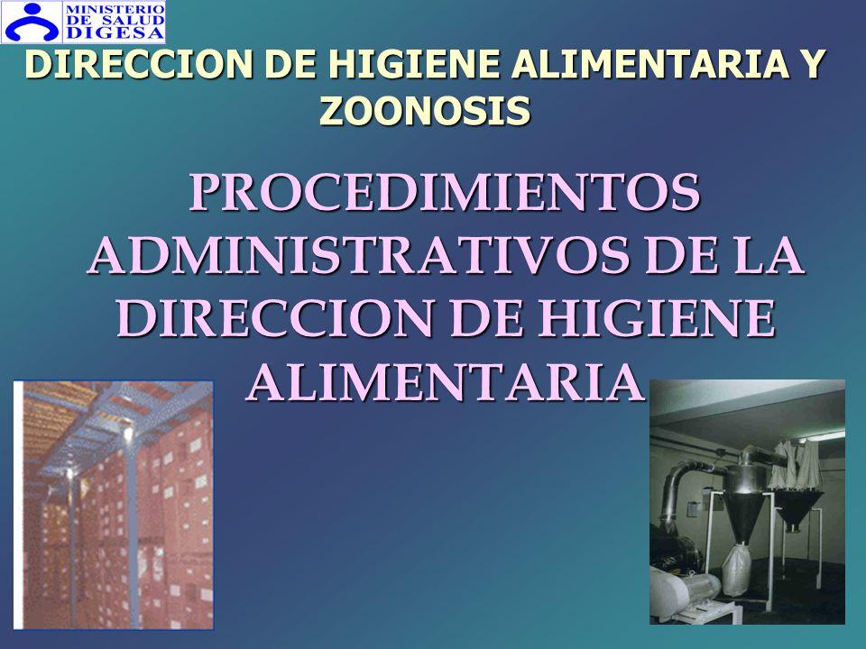 PROCEDIMIENTOS ADMINISTRATIVOS DE LA DIRECCION DE HIGIENE ALIMENTARIA