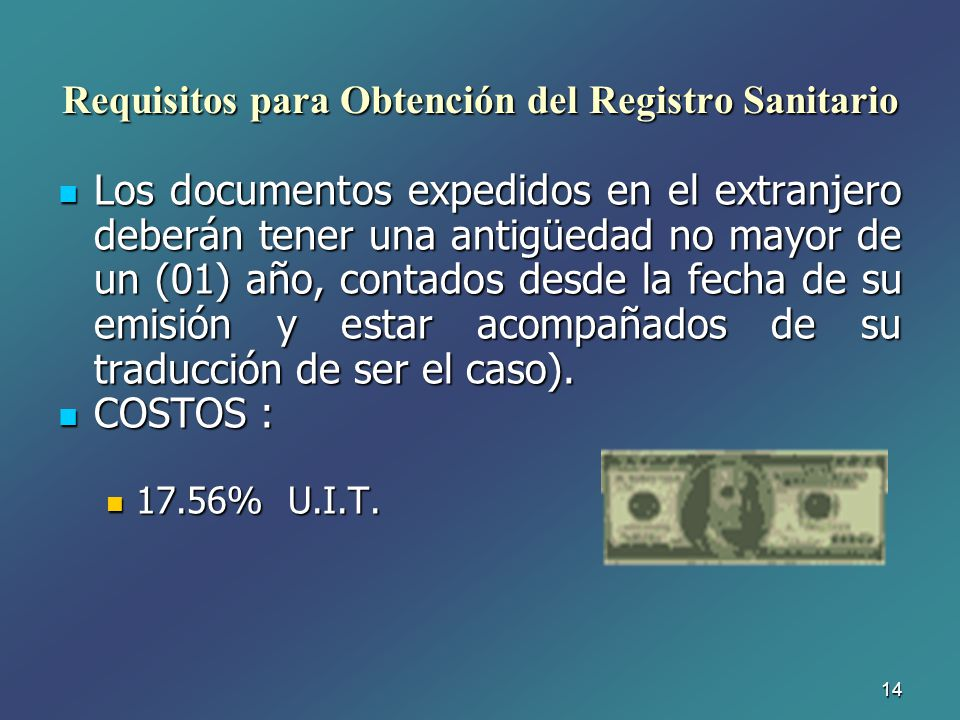 Requisitos para Obtención del Registro Sanitario