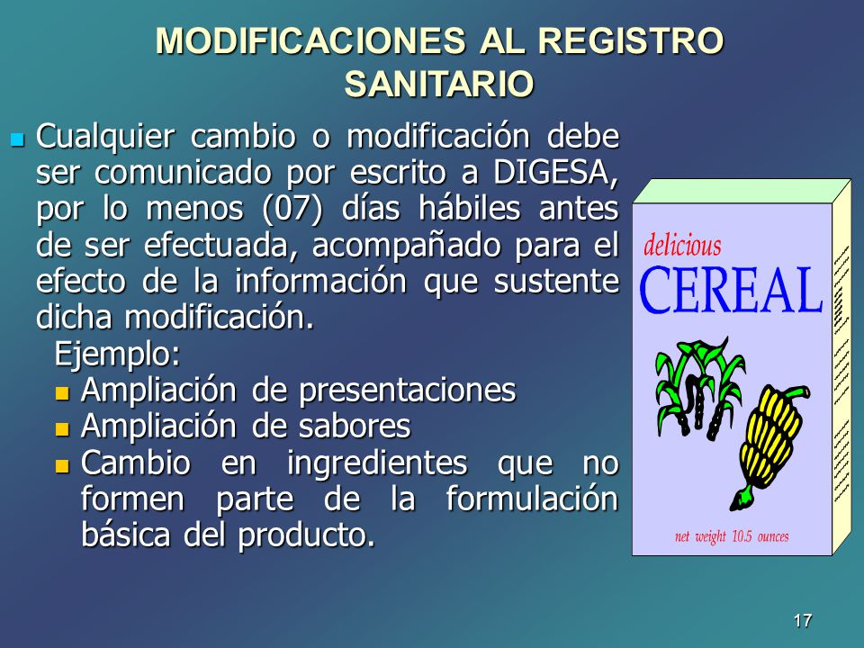 MODIFICACIONES AL REGISTRO SANITARIO