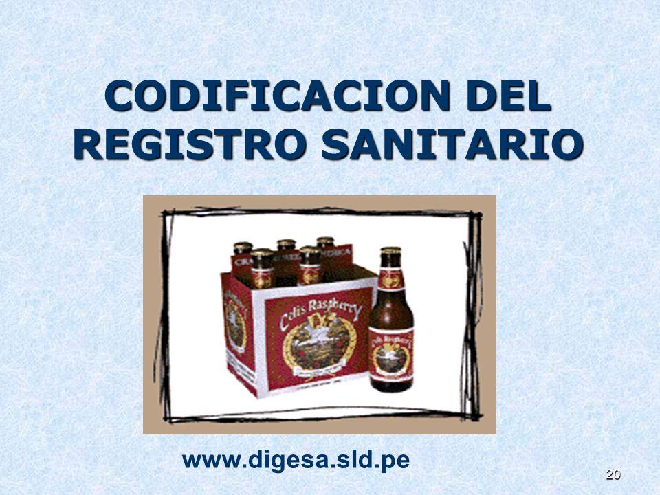 CODIFICACION DEL REGISTRO SANITARIO