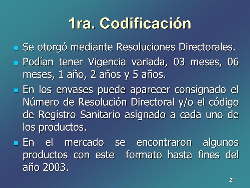1ra. Codificación Se otorgó mediante Resoluciones Directorales.