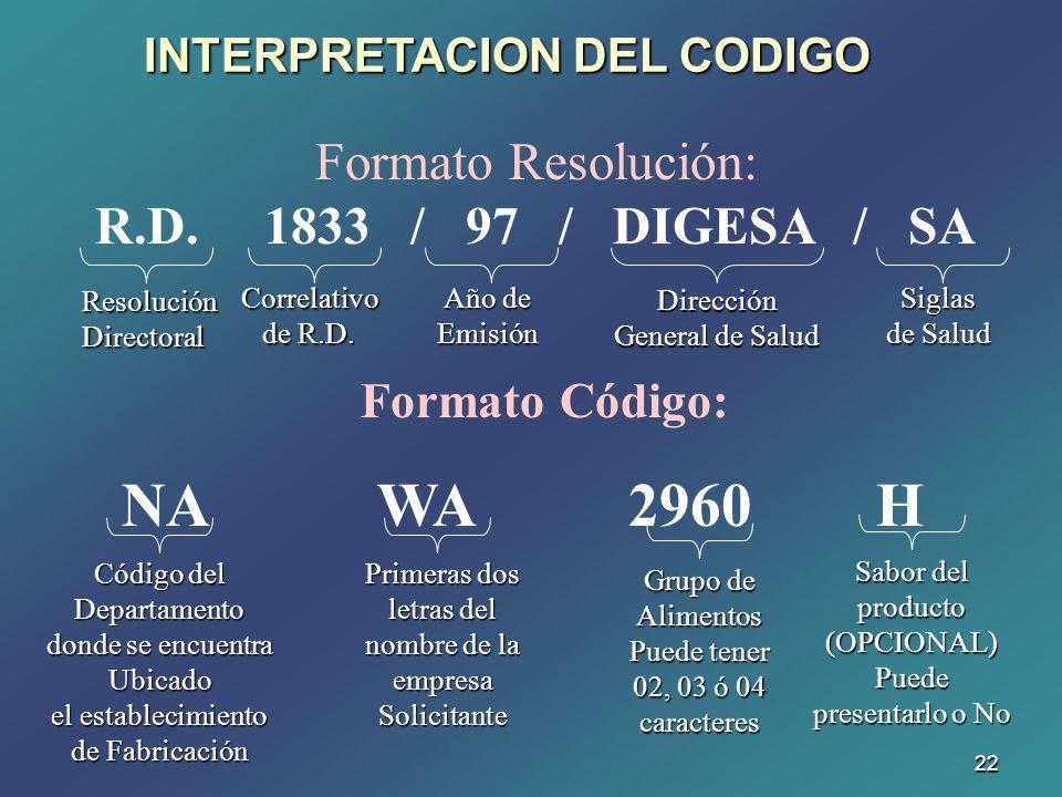 NA WA 2960 H Formato Resolución: R.D. 1833 / 97 / DIGESA / SA