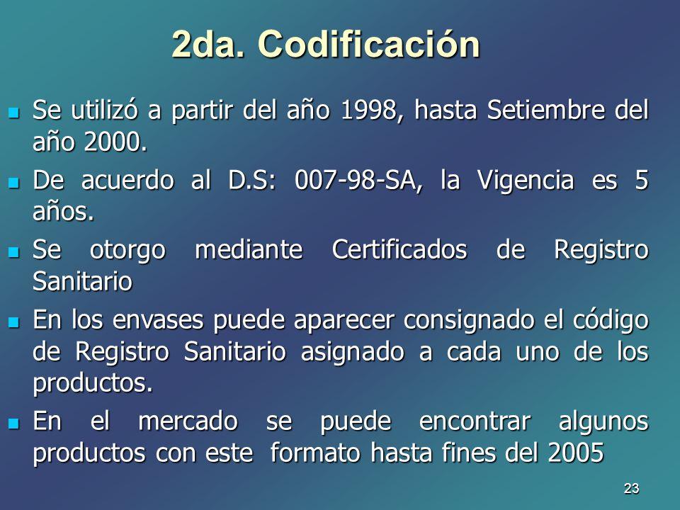 2da. Codificación Se utilizó a partir del año 1998, hasta Setiembre del año 2000. De acuerdo al D.S: 007-98-SA, la Vigencia es 5 años.
