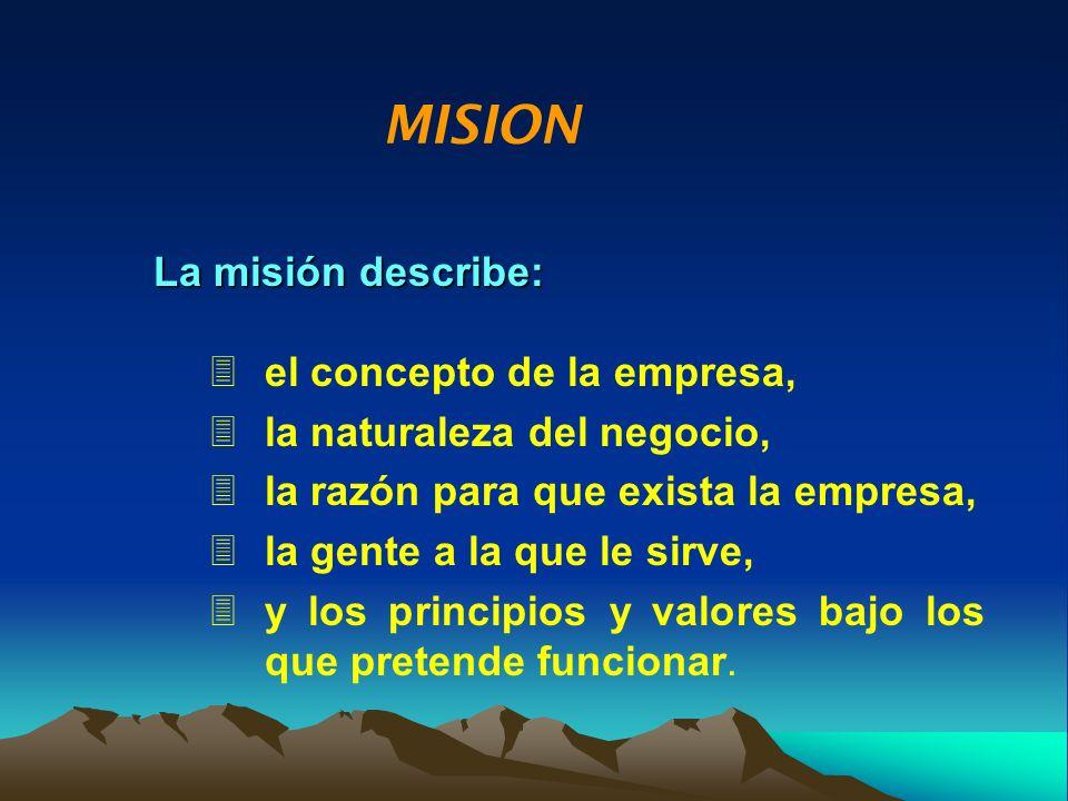 MISION La misión describe: el concepto de la empresa,