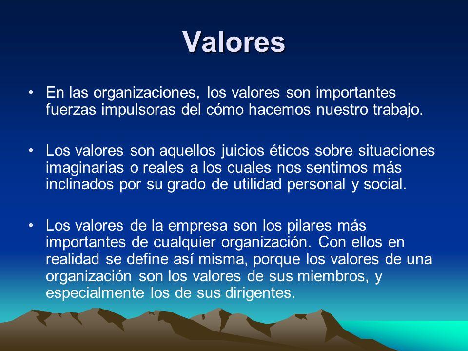 Valores En las organizaciones, los valores son importantes fuerzas impulsoras del cómo hacemos nuestro trabajo.