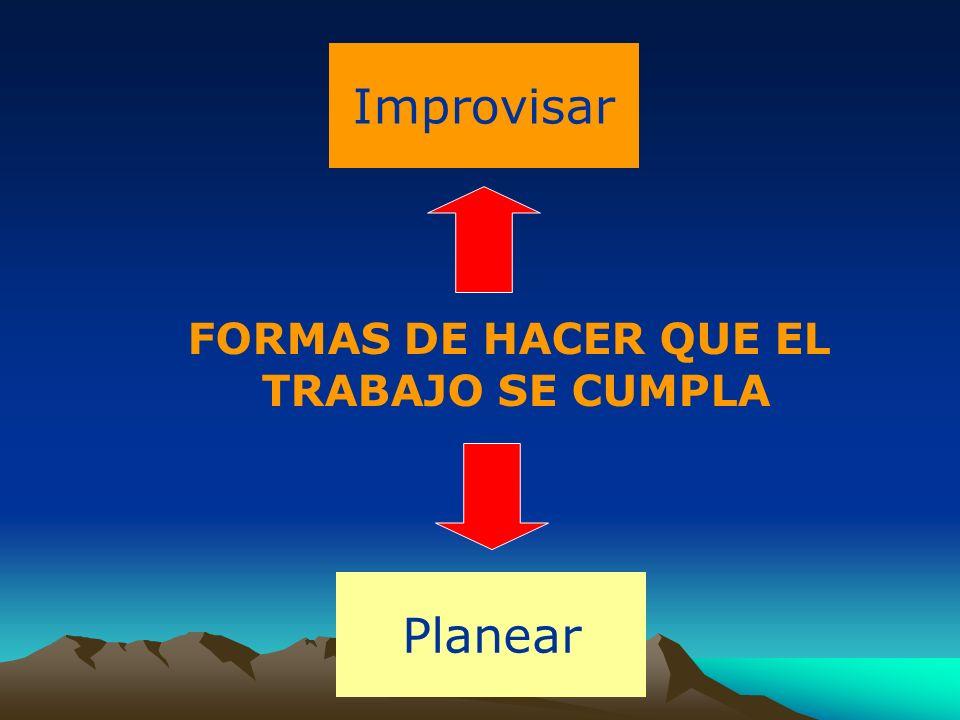 Improvisar FORMAS DE HACER QUE EL TRABAJO SE CUMPLA Planear 4