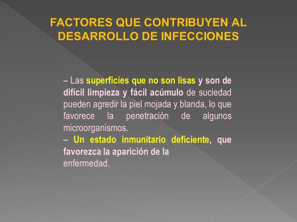 FACTORES QUE CONTRIBUYEN AL DESARROLLO DE INFECCIONES