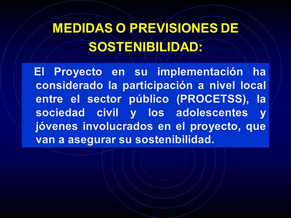 MEDIDAS O PREVISIONES DE SOSTENIBILIDAD: