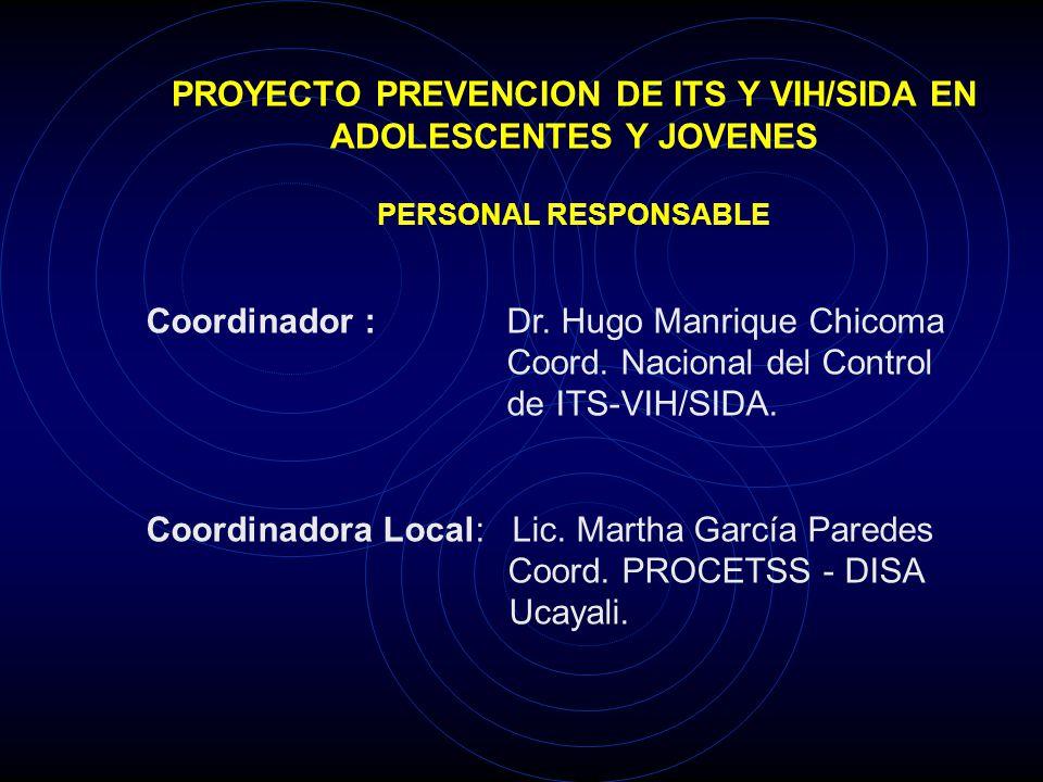 PROYECTO PREVENCION DE ITS Y VIH/SIDA EN ADOLESCENTES Y JOVENES PERSONAL RESPONSABLE