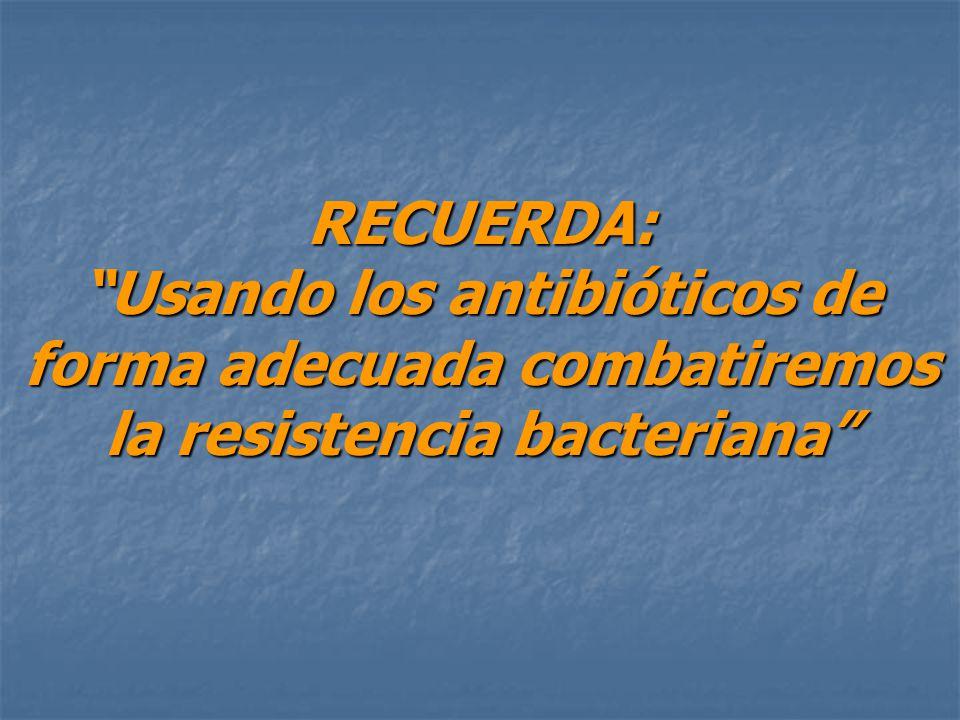 RECUERDA: Usando los antibióticos de forma adecuada combatiremos la resistencia bacteriana