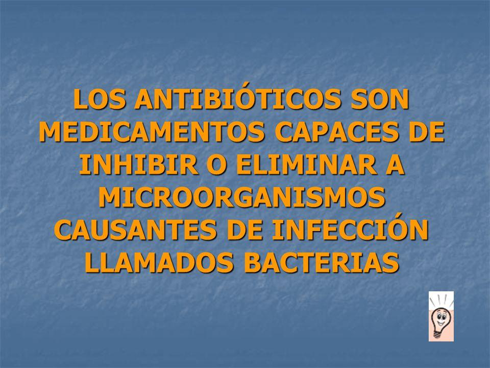 LOS ANTIBIÓTICOS SON MEDICAMENTOS CAPACES DE INHIBIR O ELIMINAR A MICROORGANISMOS CAUSANTES DE INFECCIÓN LLAMADOS BACTERIAS