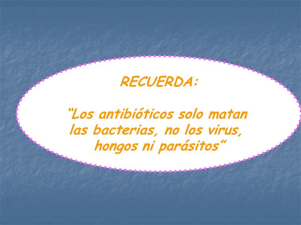 Los antibióticos solo matan las bacterias, no los virus,