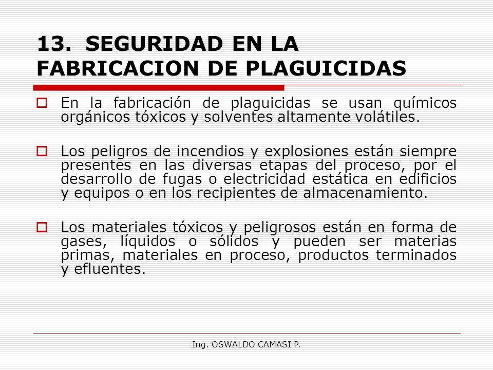 13. SEGURIDAD EN LA FABRICACION DE PLAGUICIDAS