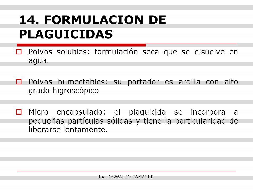 14. FORMULACION DE PLAGUICIDAS