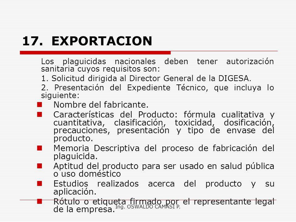 17. EXPORTACION Nombre del fabricante.