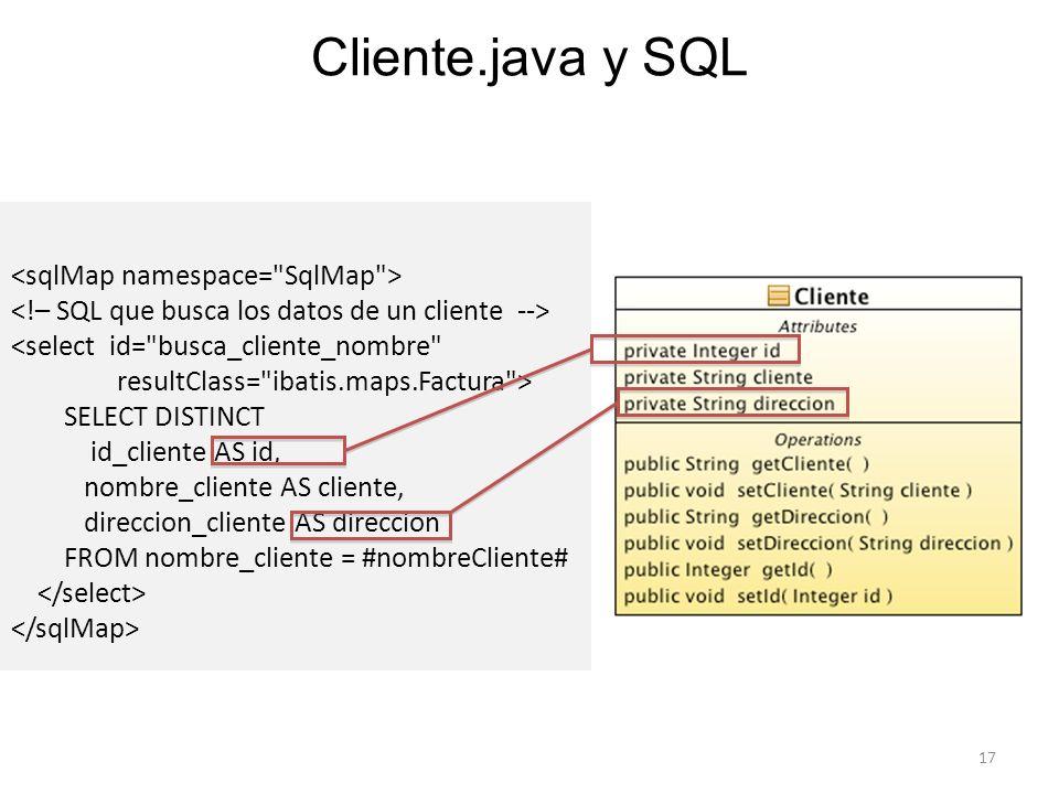 Cliente.java y SQL <sqlMap namespace= SqlMap >
