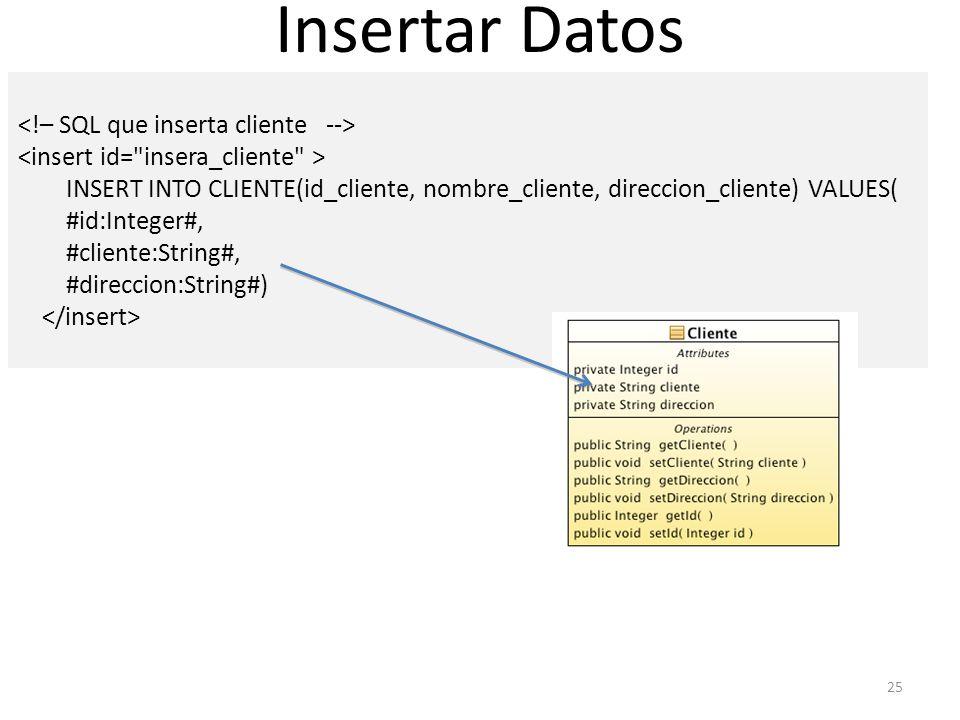 Insertar Datos <!– SQL que inserta cliente -->