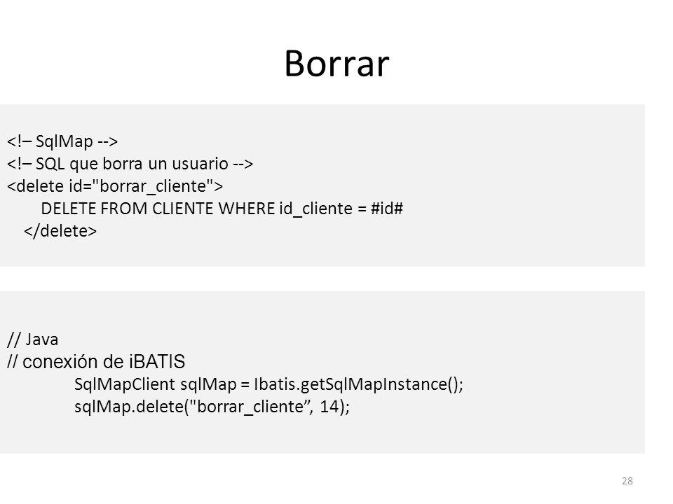 Borrar <!– SqlMap --> <!– SQL que borra un usuario -->