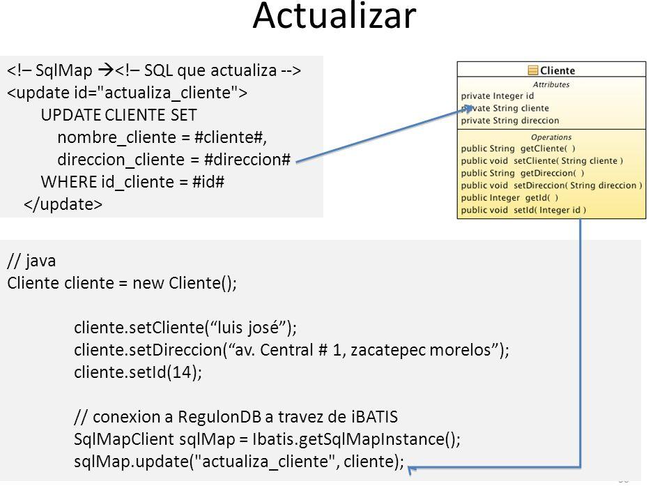 Actualizar <!– SqlMap <!– SQL que actualiza -->