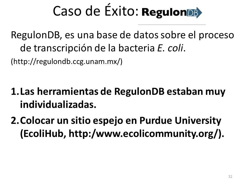 Caso de Éxito: RegulonDB, es una base de datos sobre el proceso de transcripción de la bacteria E. coli.