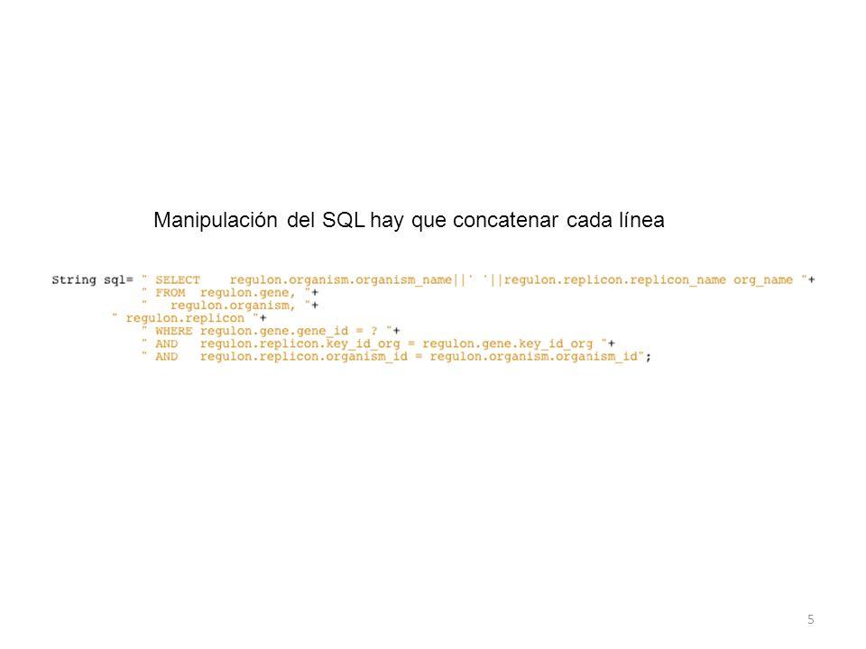 Manipulación del SQL hay que concatenar cada línea