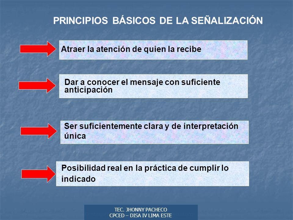 PRINCIPIOS BÁSICOS DE LA SEÑALIZACIÓN
