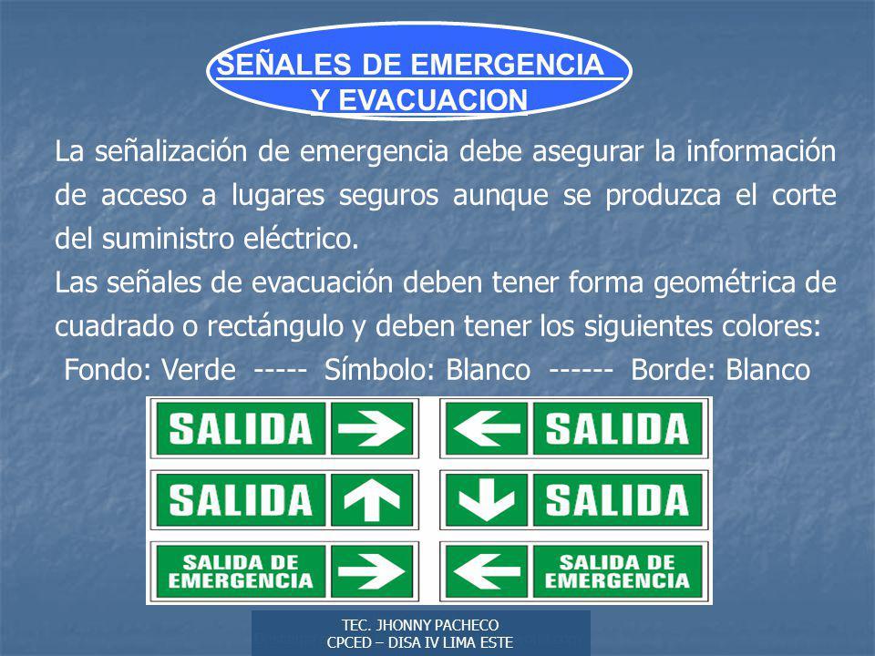 SEÑALES DE EMERGENCIA Y EVACUACION