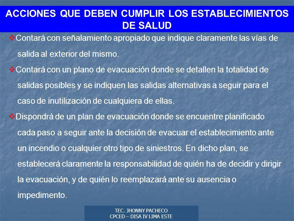ACCIONES QUE DEBEN CUMPLIR LOS ESTABLECIMIENTOS DE SALUD