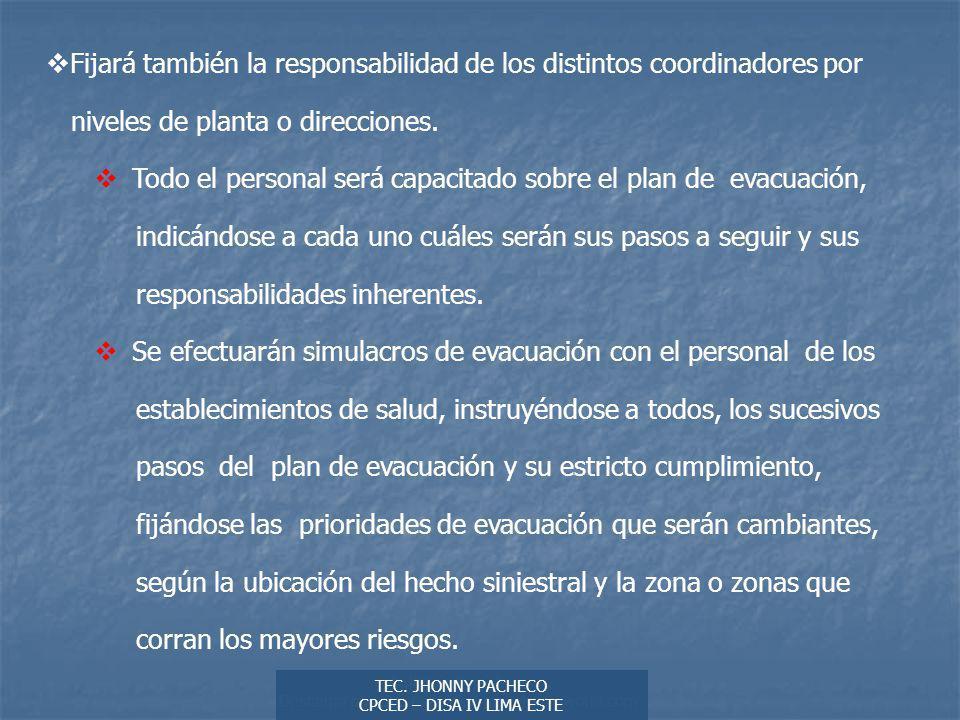 Fijará también la responsabilidad de los distintos coordinadores por