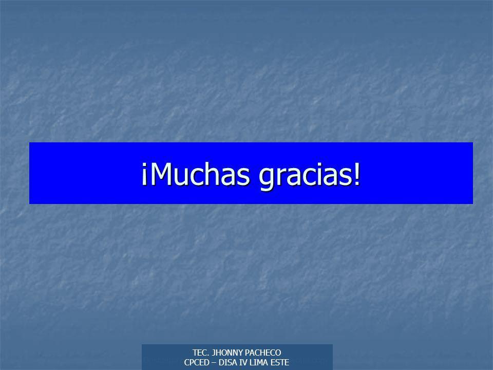 ¡Muchas gracias! Autor: Didier Sibaja Descarga ofrecida por: www.prevention-world.com. TEC. JHONNY PACHECO.