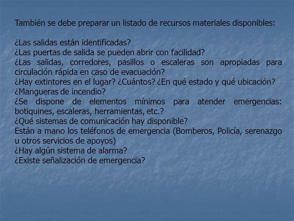 También se debe preparar un listado de recursos materiales disponibles:
