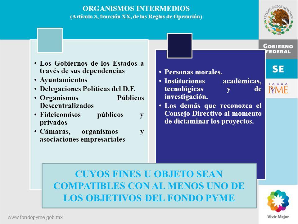 ORGANISMOS INTERMEDIOS (Artículo 3, fracción XX, de las Reglas de Operación)