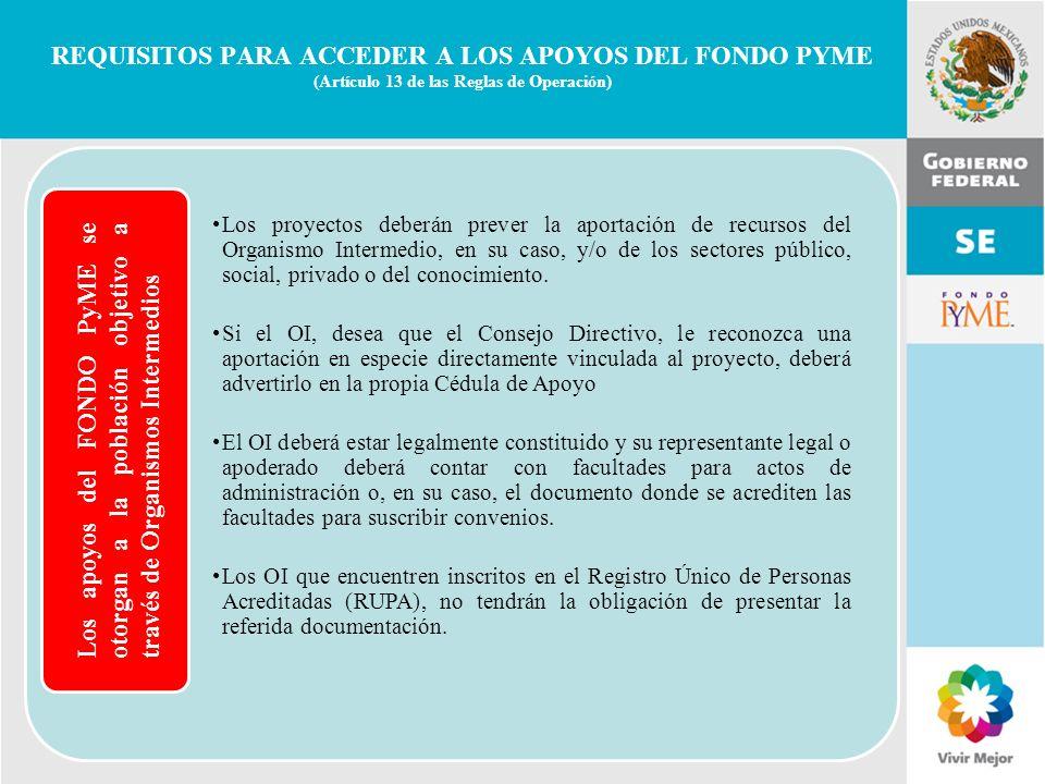 REQUISITOS PARA ACCEDER A LOS APOYOS DEL FONDO PYME (Artículo 13 de las Reglas de Operación)