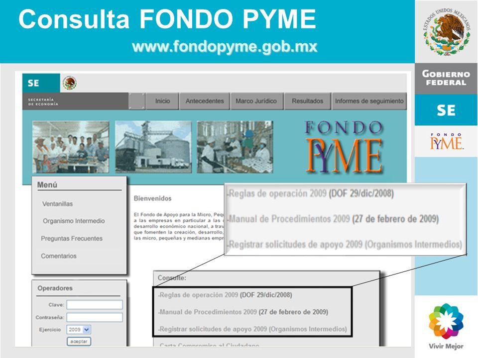 Consulta FONDO PYME www.fondopyme.gob.mx