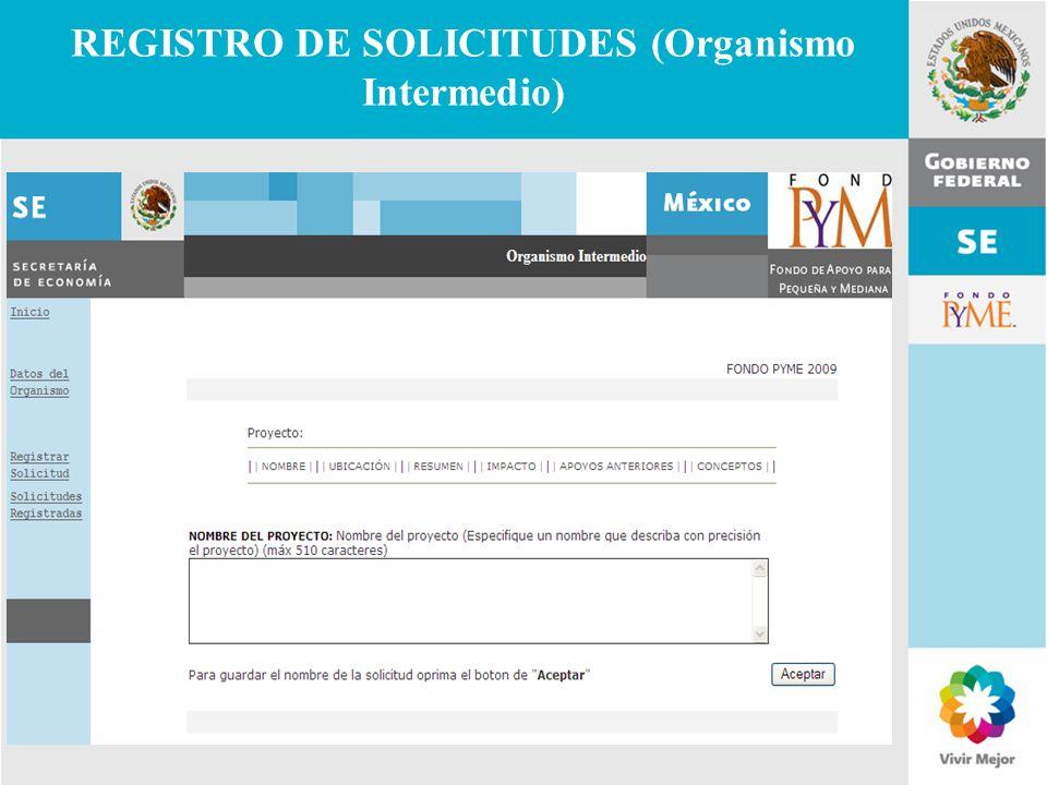 REGISTRO DE SOLICITUDES (Organismo Intermedio)