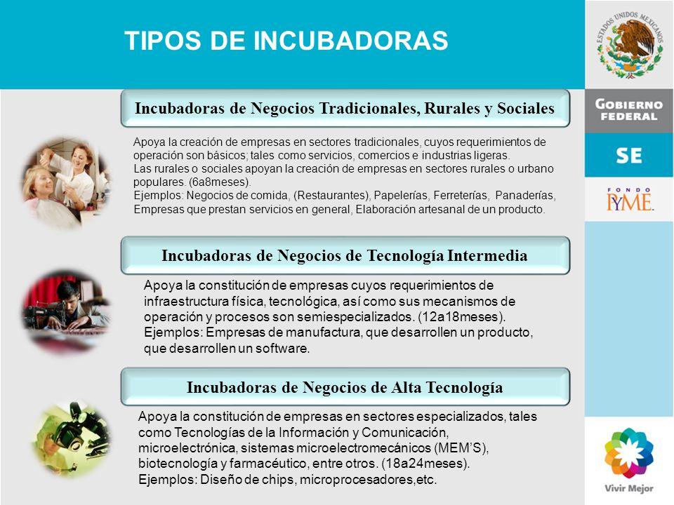 TIPOS DE INCUBADORAS Incubadoras de Negocios Tradicionales, Rurales y Sociales.