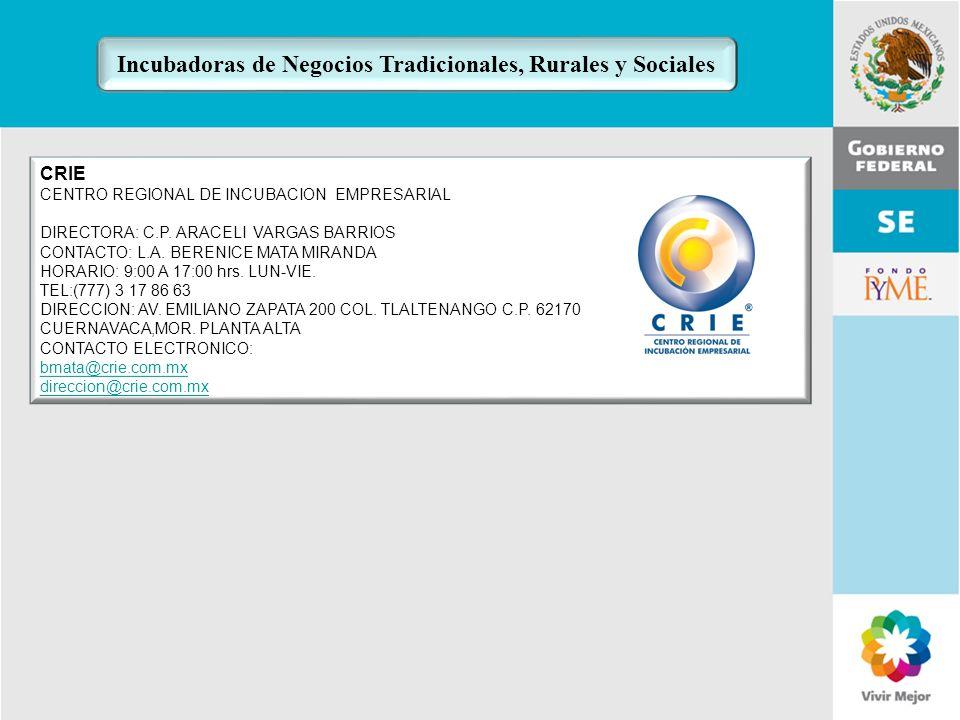 Incubadoras de Negocios Tradicionales, Rurales y Sociales