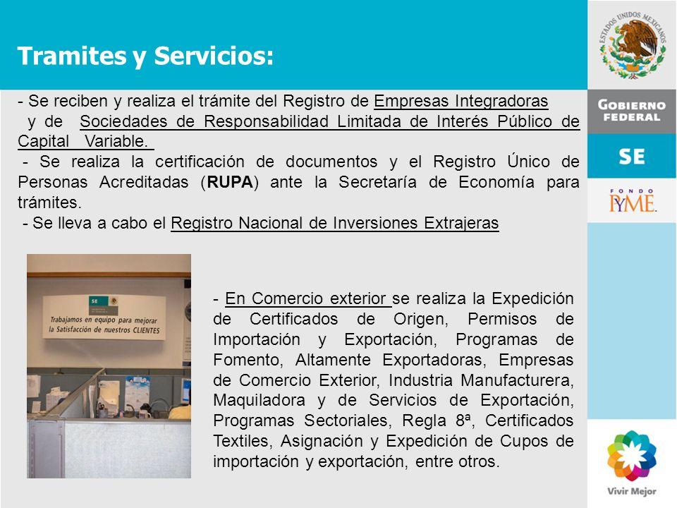Tramites y Servicios: Se reciben y realiza el trámite del Registro de Empresas Integradoras.