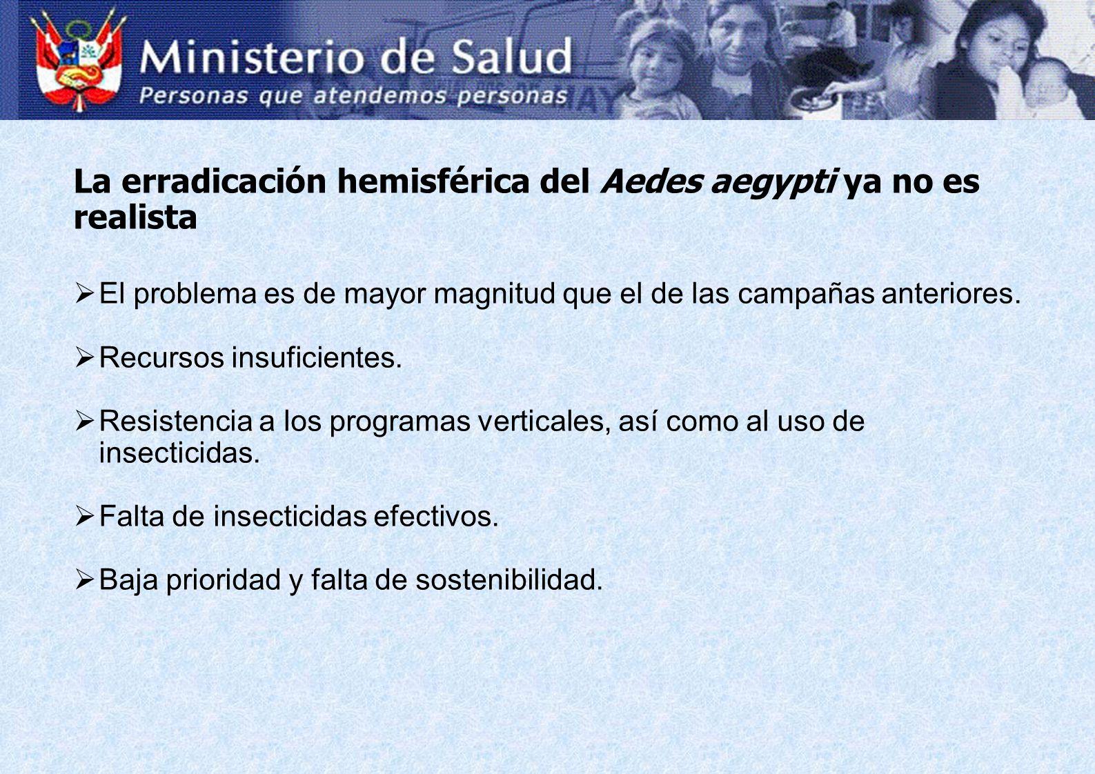 La erradicación hemisférica del Aedes aegypti ya no es realista