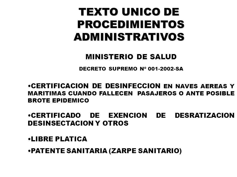 DECRETO SUPREMO Nº 001-2002-SA