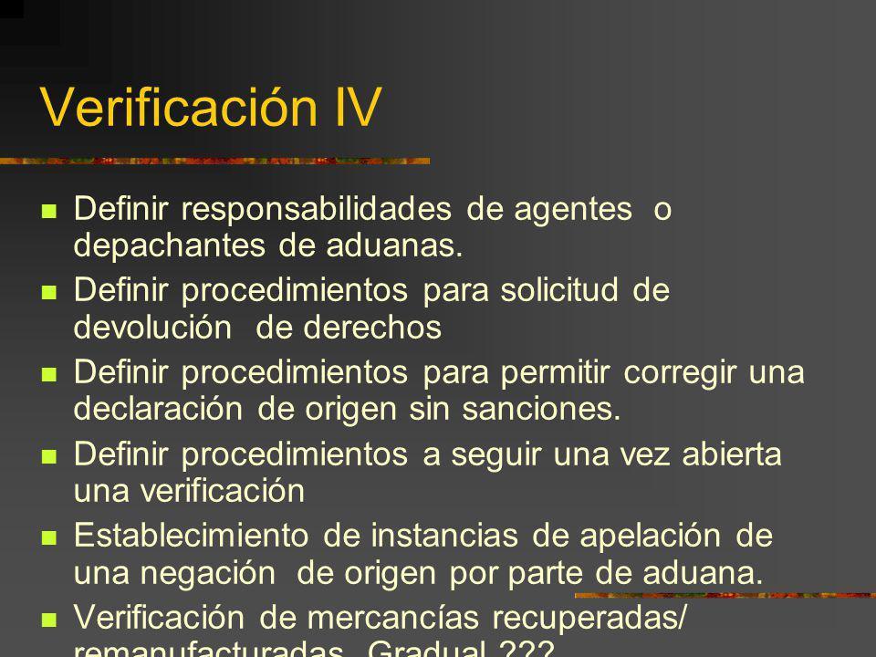 Verificación IV Definir responsabilidades de agentes o depachantes de aduanas. Definir procedimientos para solicitud de devolución de derechos.