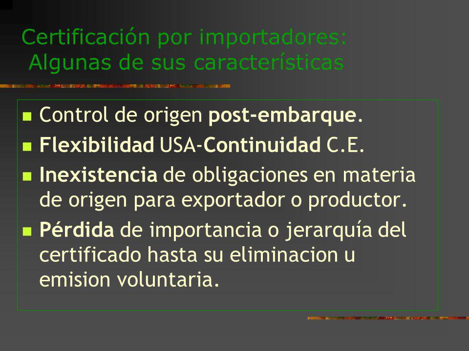 Certificación por importadores: Algunas de sus características