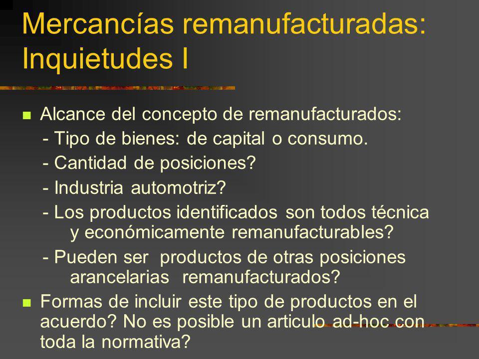 Mercancías remanufacturadas: Inquietudes I