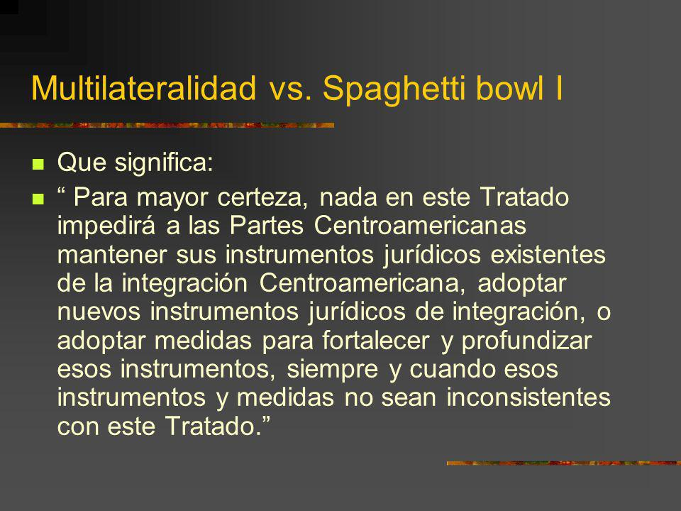 Multilateralidad vs. Spaghetti bowl I