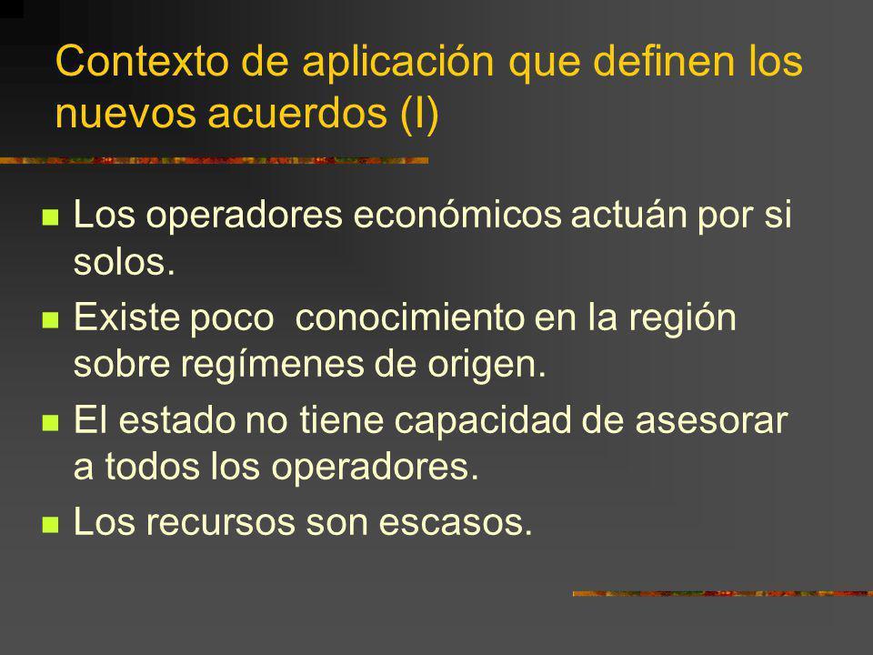 Contexto de aplicación que definen los nuevos acuerdos (I)